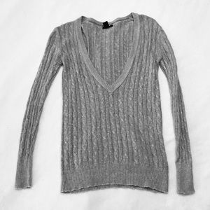 GAP Tunic Sweater, Grey, XS, V-neck, Cable knit